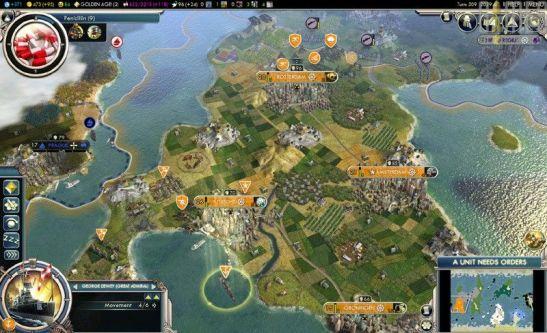 Scena tratta da Civilization 5, videogame strategico,il giocatore guida una civiltà dalla preistoria all'era spaziale