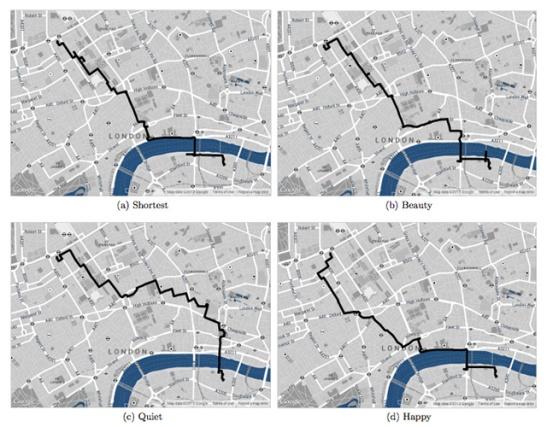 Un esempio dei percorsi possibili sulla mappa di Londra