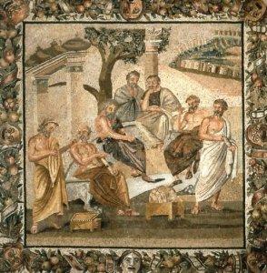 L'accademia di Platone,  mosaico - Napoli, Museo Archelogico