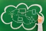 Cloud computing concept sketched on blackboard